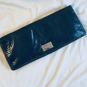 Nine West Fold Over Faux Crocodile Clutch